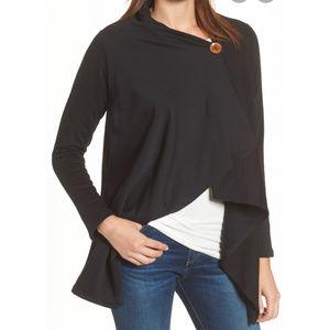 NWT Bobeau asymmetrical black fleece cardigan Sz M